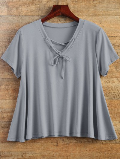 Flowy Lace Up Swing Tee - GRAY L Mobile