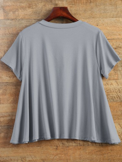 Flowy Lace Up Swing Tee - GRAY M Mobile