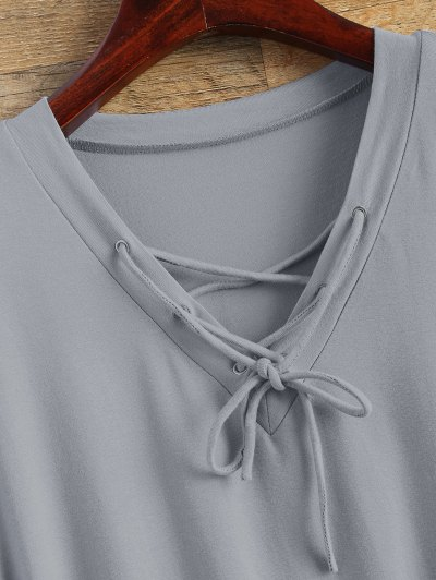 Flowy Lace Up Swing Tee - GRAY S Mobile