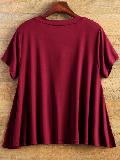 Flowy Lace Up Swing Tee - BURGUNDY L Mobile