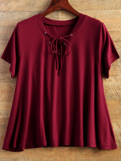Flowy Lace Up Swing Tee - BURGUNDY M Mobile