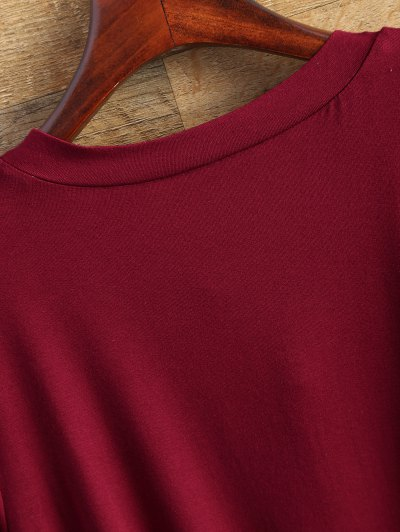 Flowy Lace Up Swing Tee - BURGUNDY S Mobile