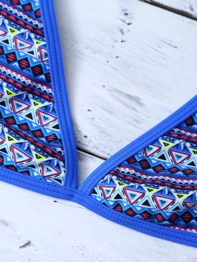 Tribal Print Halter Unlined Bikini - BLUE S Mobile