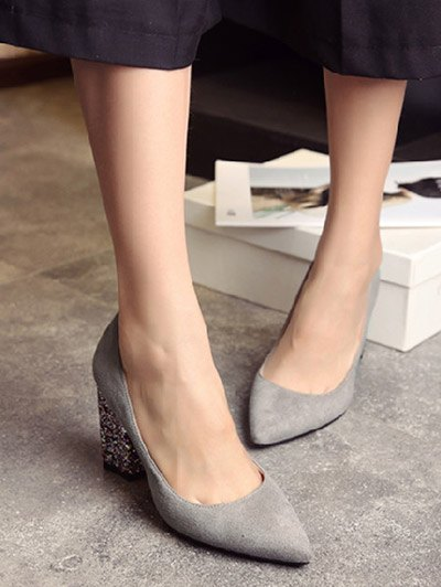 Glitter Sequined Pointed Toe Pumps - GRAY 37 Mobile