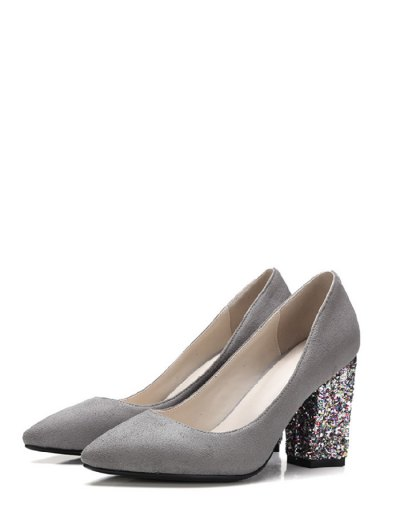 Glitter Sequined Pointed Toe Pumps - GRAY 38 Mobile