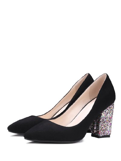 Glitter Sequined Pointed Toe Pumps - BLACK 39 Mobile