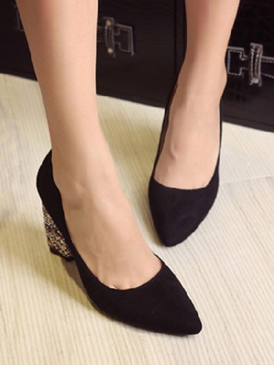 Glitter Sequined Pointed Toe Pumps - BLACK 37 Mobile