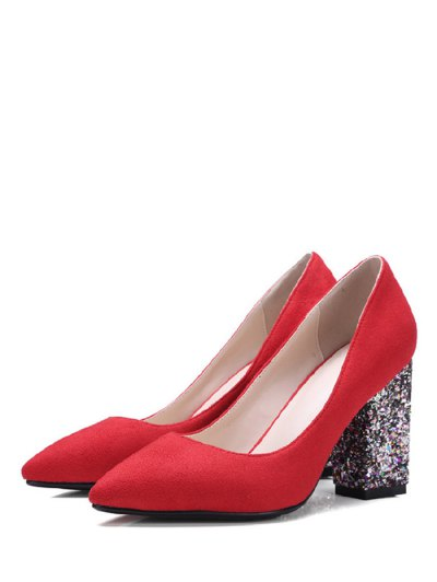 Glitter Sequined Pointed Toe Pumps - RED 39 Mobile