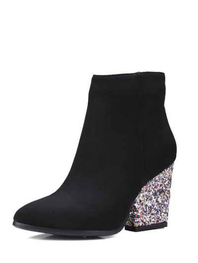Zipper Glitter Chunky Heel Ankle Boots - BLACK 39 Mobile