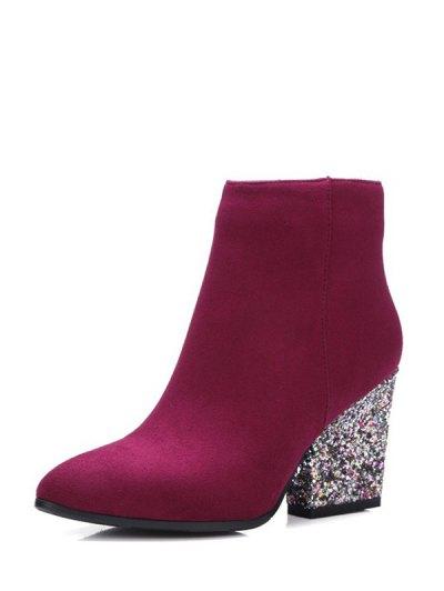 Zipper Glitter Chunky Heel Ankle Boots - BURGUNDY 37 Mobile