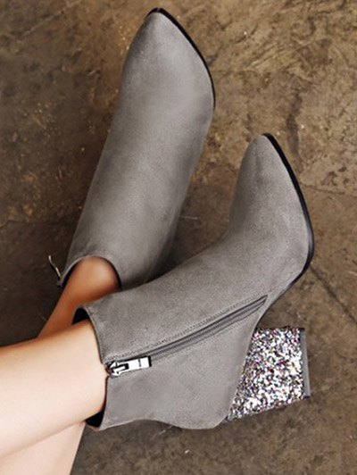 Zipper Glitter Chunky Heel Ankle Boots - GRAY 39 Mobile