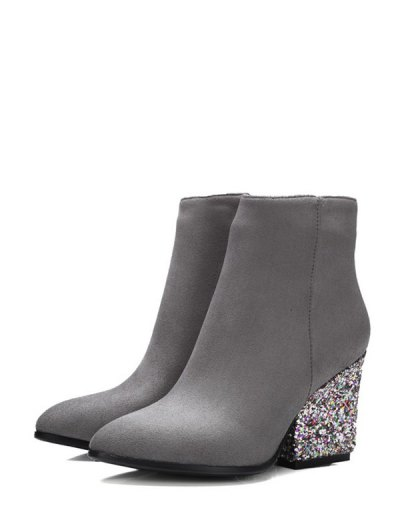 Zipper Glitter Chunky Heel Ankle Boots - GRAY 37 Mobile