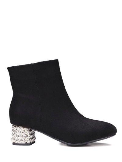 Square Toe Rhinestones Zipper Ankle Boots - BLACK 38 Mobile