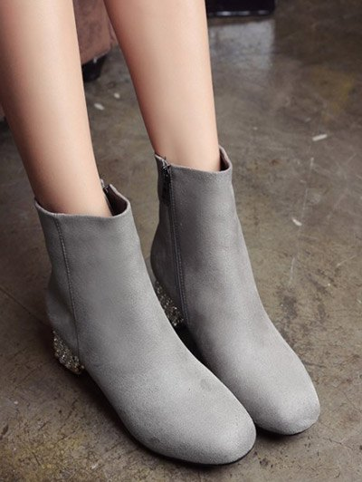 Square Toe Rhinestones Zipper Ankle Boots - GRAY 38 Mobile
