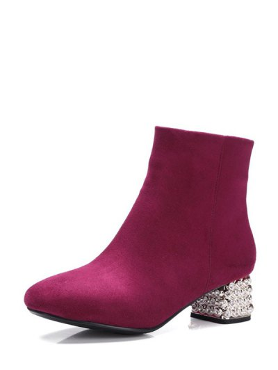 Square Toe Rhinestones Zipper Ankle Boots - BURGUNDY 39 Mobile
