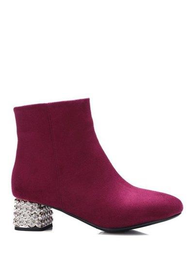 Square Toe Rhinestones Zipper Ankle Boots - BURGUNDY 37 Mobile