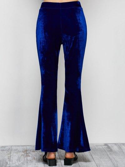 Velvet Flare Pants - BLUE S Mobile