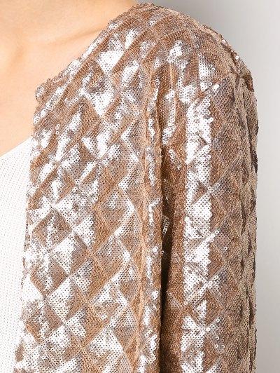 Sequined Open Front Jacket - GOLDEN M Mobile