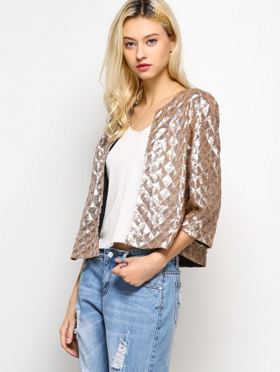Sequined Open Front Jacket - GOLDEN S Mobile