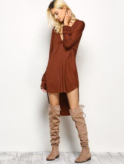 Loose High-Low Dress - BROWN L Mobile