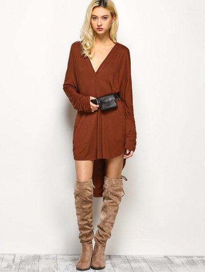 Loose High-Low Dress - BROWN M Mobile