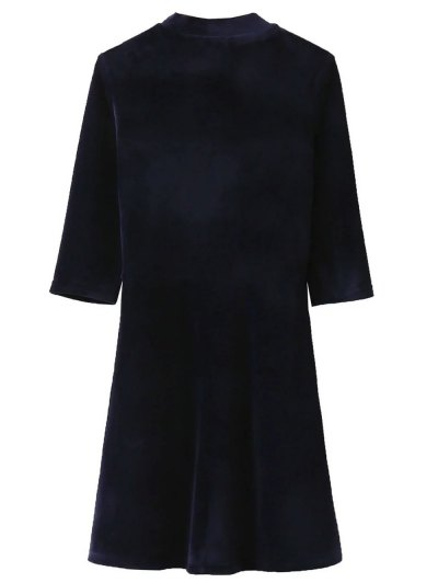 Velour Stand Neck Fit and Flare Dress - PURPLISH BLUE S Mobile