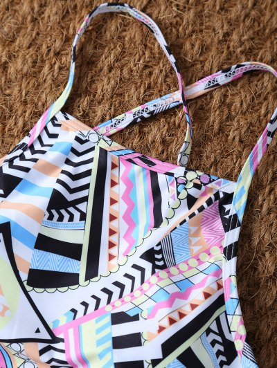 High Neck Criss Cross Geometric Bikini Set - PINK L Mobile