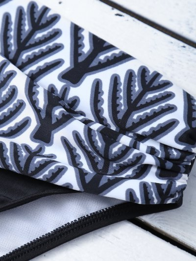 Tree Printed Halter Bikini Set - BLACK S Mobile