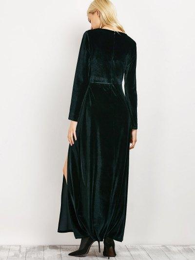 Long Sleeve High Slit A-Line Dress - BLACKISH GREEN M Mobile