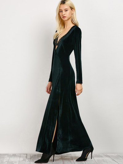 Long Sleeve High Slit A-Line Dress - BLACKISH GREEN S Mobile