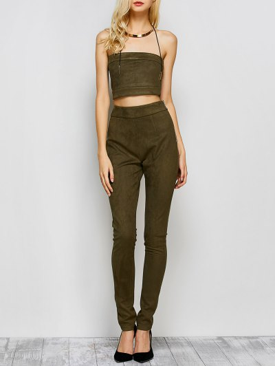 High Rise Suede Pants with Tube Top - ARMY GREEN L Mobile