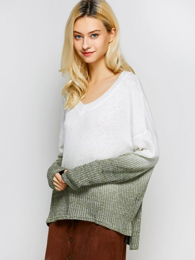 Ombre High-Low Knitwear - WHITE L Mobile
