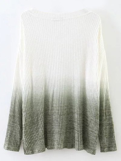 Ombre High-Low Knitwear - WHITE S Mobile