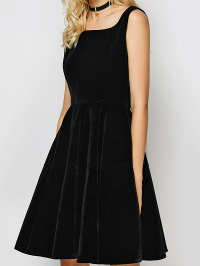 Square Neck Velvet Vintage Dress - BLACK L Mobile