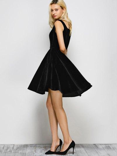 Square Neck Velvet Vintage Dress - BLACK M Mobile