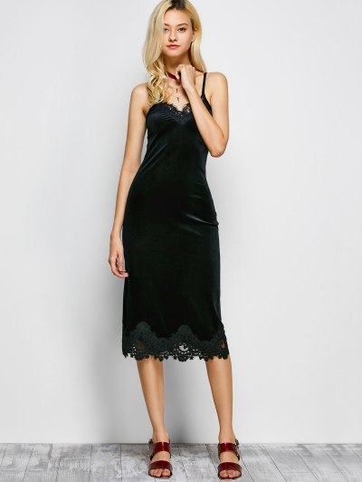 Cami Lace Panel Dress - BLACK S Mobile