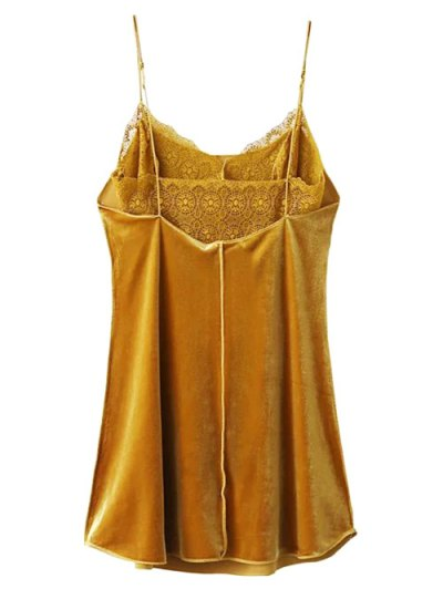 Velour Lace Panel Mini Dress - YELLOW M Mobile