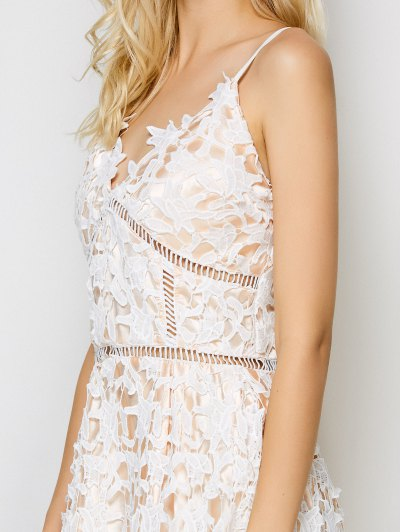 Lace Hollow Out Slip Dress - WHITE S Mobile