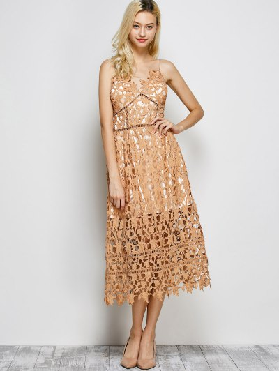 Lace Hollow Out Slip Dress - LIGHT COFFEE L Mobile