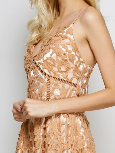 Lace Hollow Out Slip Dress - LIGHT COFFEE S Mobile