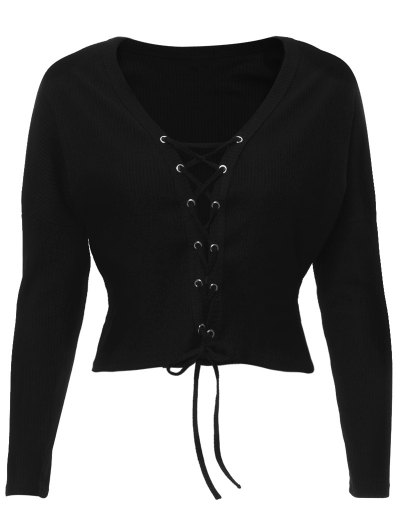 Lace Up Ribbed Cropped Cardigan - BLACK L Mobile