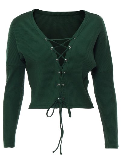 Lace Up Ribbed Cropped Cardigan - BLACKISH GREEN L Mobile