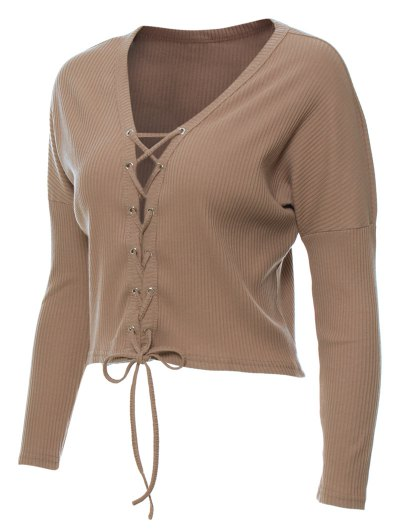 Lace Up Ribbed Cropped Cardigan - KHAKI M Mobile