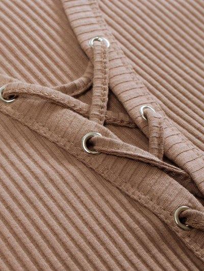 Lace Up Ribbed Cropped Cardigan - KHAKI S Mobile