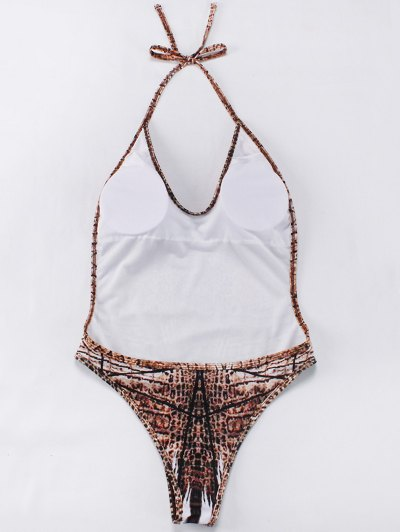 Backelss Tie-Dyed One-Piece Swimwear - BROWN L Mobile