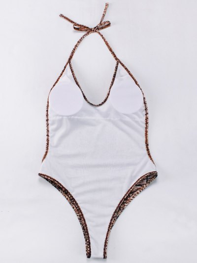 Backelss Tie-Dyed One-Piece Swimwear - BROWN S Mobile