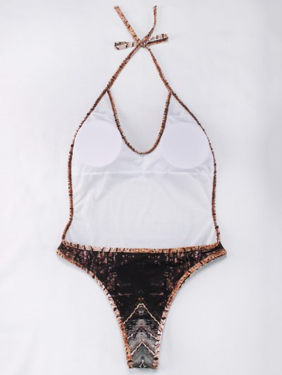 Backless Abstract Print One-Piece Swimwear - TAN M Mobile