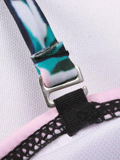 Stripe Panel Cut Out One-Piece Swimwear - GREEN L Mobile