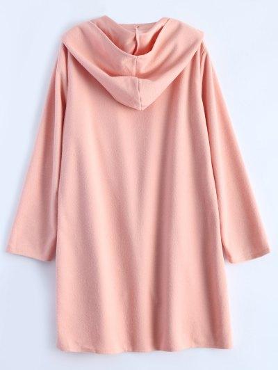 Cotton Open Front Coat - PINK XL Mobile