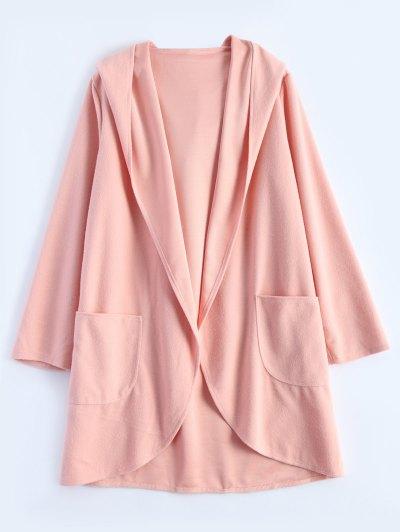 Cotton Open Front Coat - PINK L Mobile